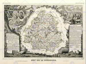 MAP-OLD-FRANCE-LEVASSEUR-DORDOGNE-DEPARTMENT-POSTER-ART-PRINT-BB12026B