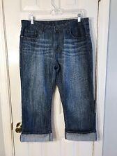 Passports Jeans Size 12 Capris Medium Distressed Wash