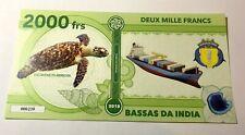 Turtle banknote bill 2018 Bassas Da India 2000 francs animal wildlife