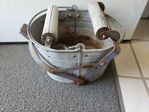 Galvanized Mop Bucket Vintage Mop Pail Country Farm Primitive Decor, working!