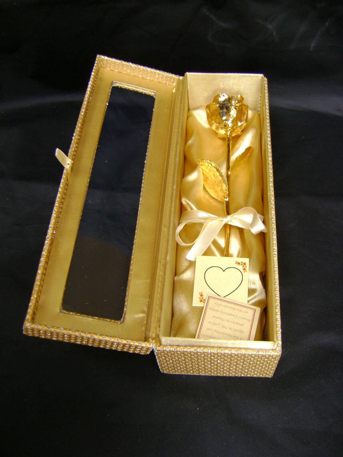 CADEAU DE MARIAGE - 12 in (environ 30.48 cm) or 24K feux Real rose dans un or égyptien cercueil nouveau