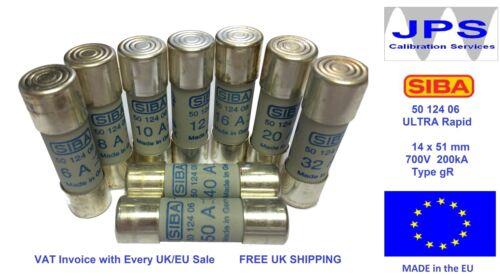 SIBA 5012406 50 124 06 Ultra Rapid Fuse type gR 700V Pick Your Rating