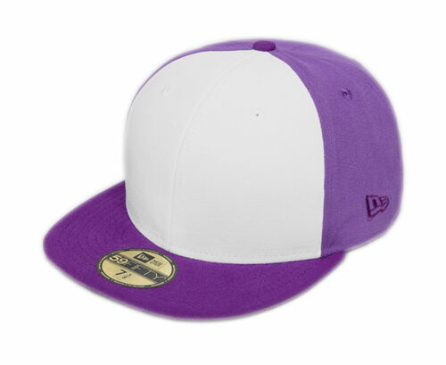 New Era 59fifty Plain Tri Tone Fitted Purple White Purple 5950 Hat Cap