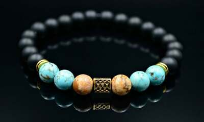 Prezzo Basso Herren Armband Edelstein Bracelet Türkis Jaspis Onyx Geschenk Für Mann 8 Mm