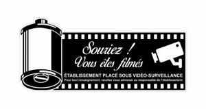 Sticker plastifié VIDEO SURVEILLANCE - BAR RESTAURANT TERRASSE - 22cm x 10cm
