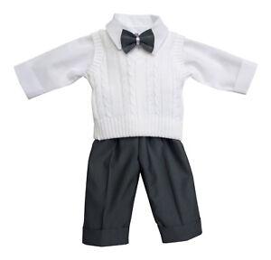 Taufanzug-Babyanzug-Anzug-Jungen-Baby-Taufe-Festbekleidung-weiss-grau-schwarz