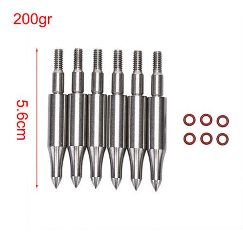 6pcs Stainless Steel Arrow Point Tip For OD7.6mm Arrow Shaft Arrow Head.