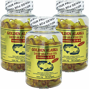 3-x-100-SG-Golden-Alaska-Deep-Sea-1000-MG-Fish-Oil-Omega-3-6-9-EPA-DHA-300-Cap