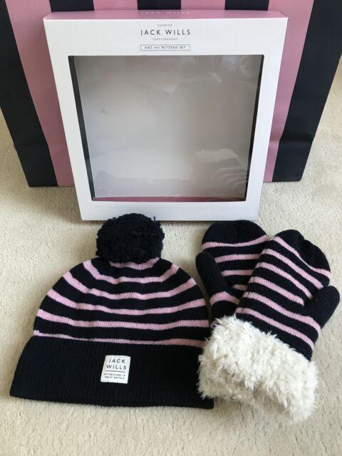 Jack Wills Ladies Pink Navy Mittens Gloves   Bobble Wool Hat Set - BNIB 6bff7ac8dcc