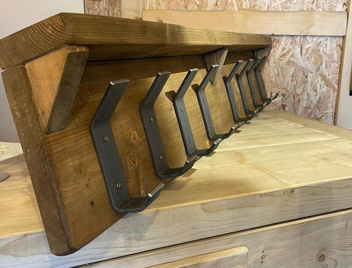 Heavy Duty Solid Steel Rustic Industrial Coat Hook Rack Hallway Porch Made in UK