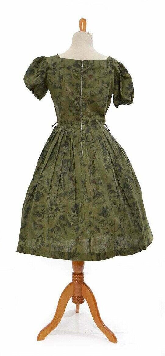 1980s Olive Green Dress Size Medium Abstract Print 80s does 50s