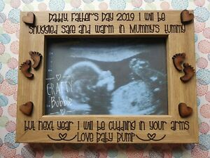 FATHER-039-S-DAY-PERSONALISED-BABY-SCAN-PHOTO-FRAME-HAND-MADE-GIFT-KEEPSAKE-ENGRAVED