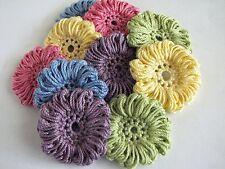 Handmade Crochet Thread Flowers - 10 Large Flower Appliques - All Cotton
