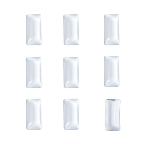 10 Pcs Transparent Rectangle Glass Cabochons Jewelry Making Clear 38x19x6.5mm