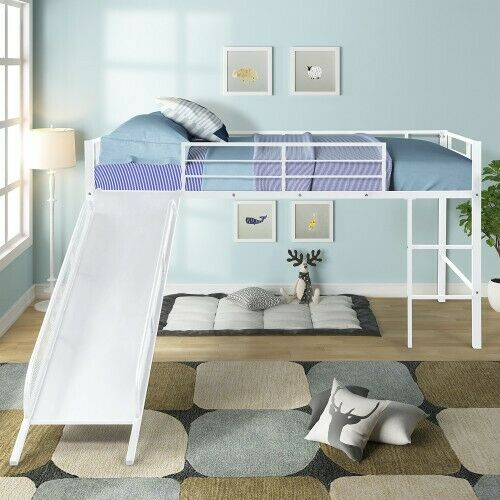 Bowery Hill Castle Twin Metal Loft Bed With Slide For Sale Online Ebay