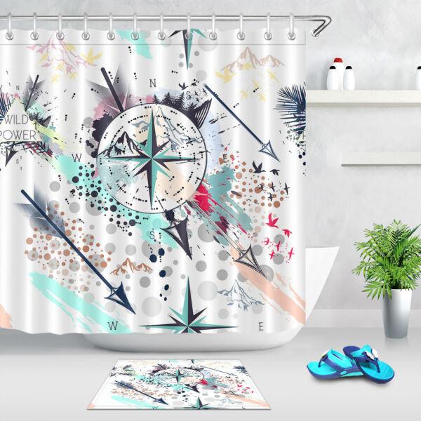 Colorful Arrow Compass Fashion Pattern Shower Curtain Waterproof Fabric 71X71