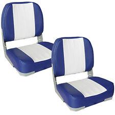 2x [PRO.TEC] Sièges de bateau bleu-blanc Siège cuir artificiel Impôt-chaise