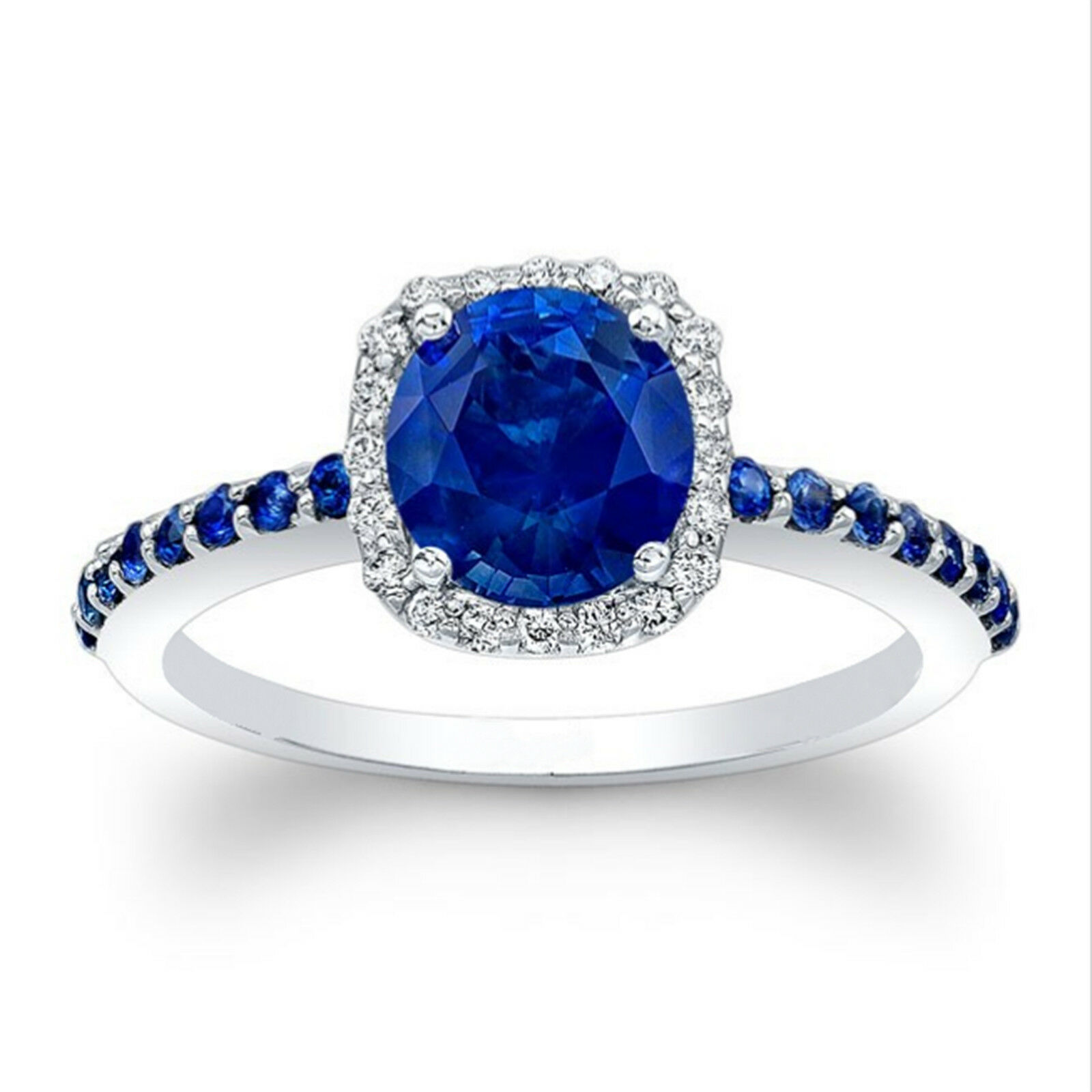 1.75 Ct Round Natural blueee Sapphire Ring 14K White gold Diamond Rings Size 6 7 8