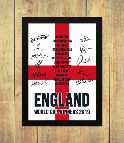 England Cricket Team World Cup 2019 Signed Autograph Poster Print A4 A5 Framed