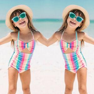 Toddler-Kids-Baby-Girls-Summer-Stripe-Bikini-Swimwear-Swimsuit-Beach-Romper-Tops