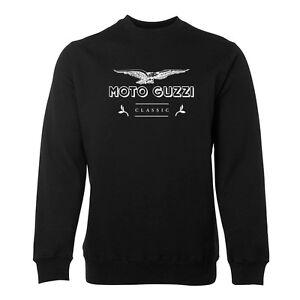 New-Black-Moto-Guzzi-Classic-Cotton-Jumper-Size-S-5XL