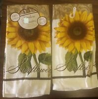 Rare Set Of 2 Printed Kitchen Towels, Sunflower (15 X 25), 100 % Cotton
