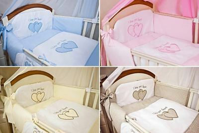 <b>6 Pcs</b> Embroidered <b>Baby</b> Bedding Set + Fitted Sheet Fits <b>Cot Cot</b> ...