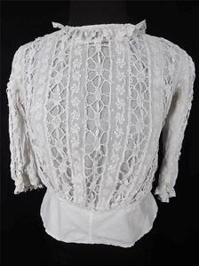 RARE-FRENCH-VICTORIAN-EDWARDIAN-WHITE-COTTON-FULL-LACE-BLOUSE-SIZE-36