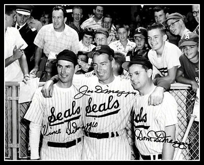 DiMaggio Brothers #1 Autographed Repro Photo 8X10 - Joe Dom Vince 1956