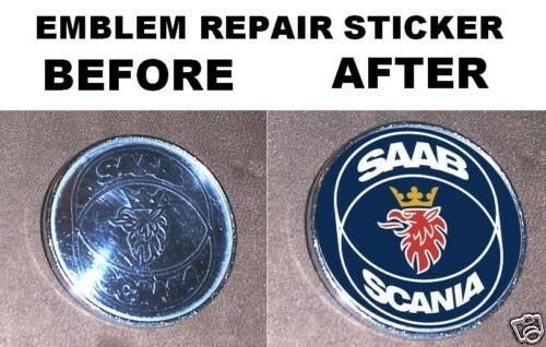 2 Saab scania hood trunk emblem repair stickers 900 93