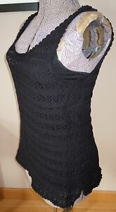 L-K-NWT-WOMENS-RALPH-LAUREN-EMBROIDERED-SLIMMING-BLACK-SHIRT-TWO-LAYER-135