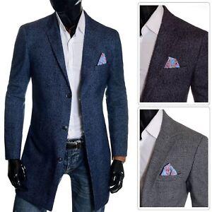 Men-039-s-Checkered-Coat-3-4-Long-Tweed-Cashmere-Wool-Trendy-Formal-Winter-Overcoat