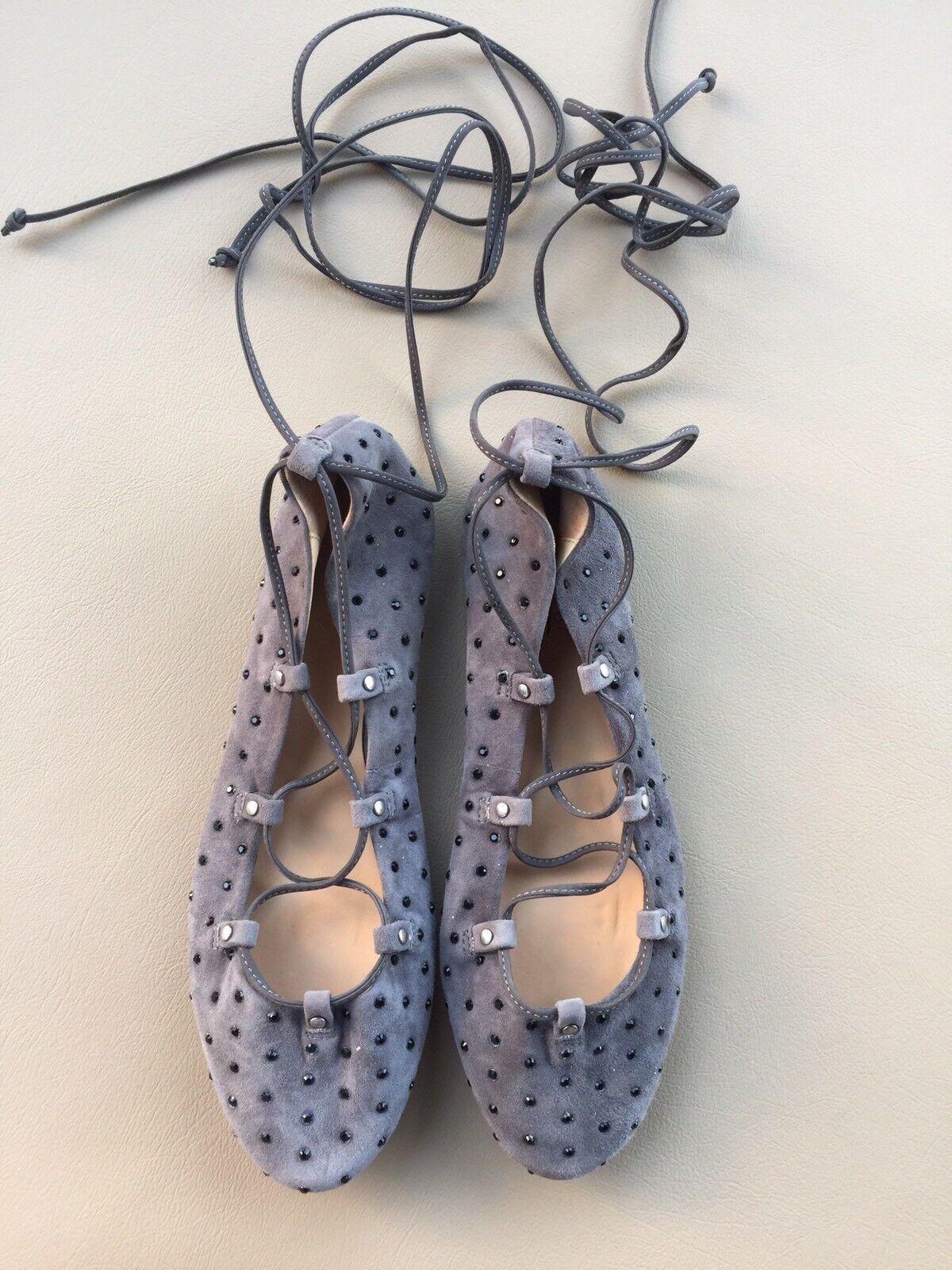 Jcrew  228 tachonados de Ante con Cordones Cordones Cordones Ballet Zapatos sin Taco Sin 7 e5043 Heron gris Nuevo  deportes calientes