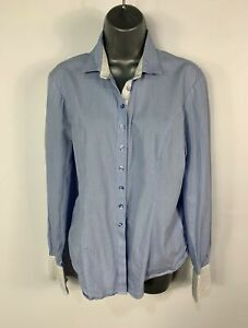 WOMENS-T-M-LEWIN-SIZE-UK-14-BLUE-amp-WHITE-STRIPE-LONG-SLEEVE-FITTED-SHIRT-BLOUSE