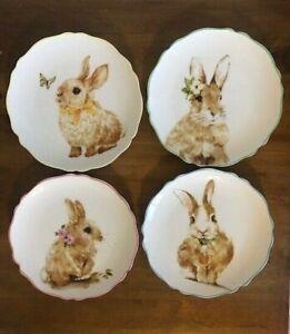 Grace-Fine-Porcelain-Easter-Bunny-Rabbit-Plates-Small-Tidbit-Plates-Set-of-4