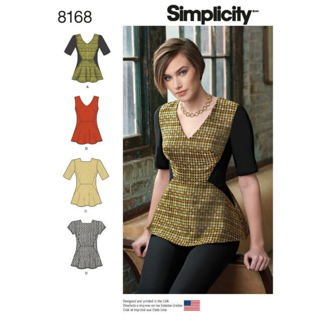 Simplicity Sewing Pattern Miss Peplum Top Neckline Sleeve Variation ...
