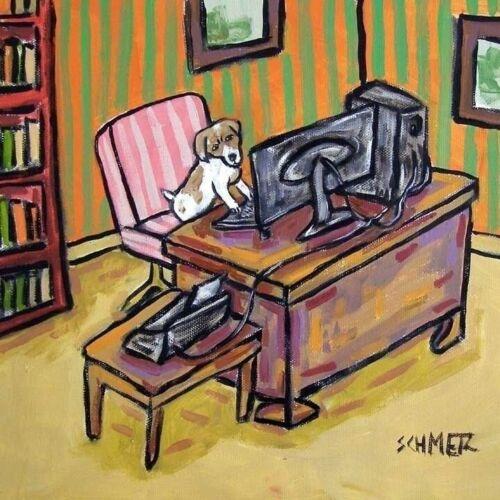 jack russell terrier working dog art tile coaster gift