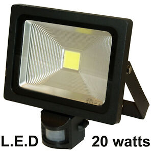 Details About 1 X Led Pir Security Motion Detector Outside Lamp Floodlight Light 20w Black