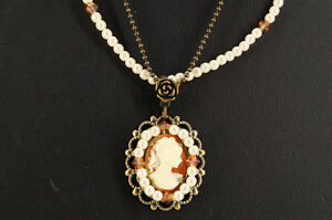 NEW-Cameo-Double-Strand-Necklace-Vintage-Style-Free-Ship-693k04