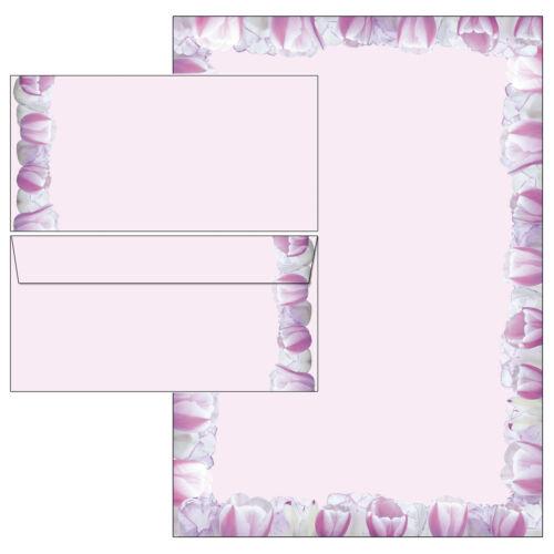 rosa Tulpen Frühling Set Motivpapier Briefpapier 20 Blatt A4 10 Umschläge neu