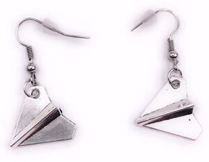 Papel-Aviador-Origami-Pendientes-Colgante-Plata-Metal