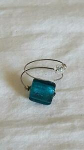 VINTAGE-ARTISAN-FASHION-COSTUME-WIRE-WRAP-TEAL-RAINBOW-SQUARE-ARTSY-RING-SZ-8