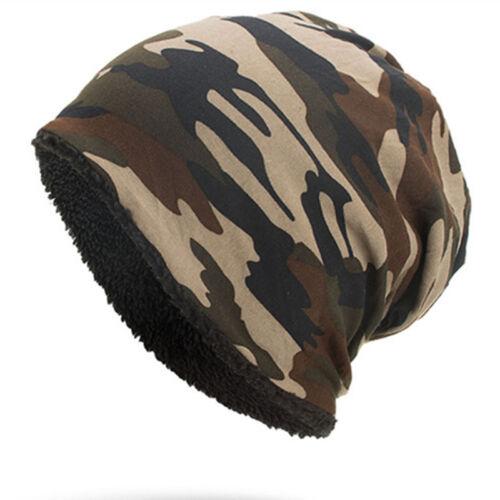 Homme Camouflage couleur Tricot Laine Cap Casual Fleece Warm Outdoor Beanie Hat