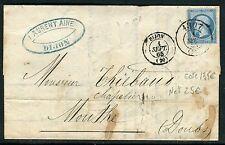 France - Lettre avec texte de Dijon pour Mouthe en 1865 , obl bureau de Passe