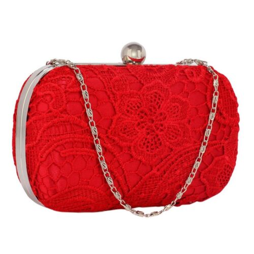 Red Satin Lace Clutch Bag Ladies Wedding Prom Party Evening Bag BNWT