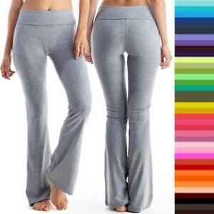 Women High Waist Yoga Pants Athletic Foldover Stretch Gym Sports Boot Cut Lounge