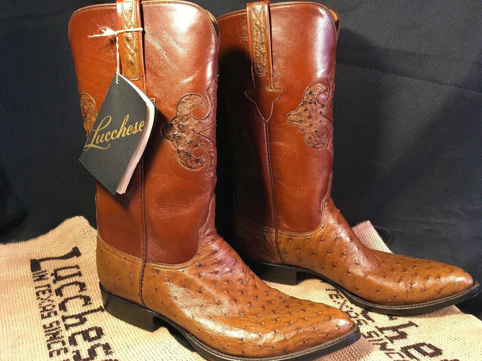 LUCCHESE botas EXOTIC Completo Pluma Avestruz 8.5 D botas De Vaquero Nuevo Nunca Usado W Tag