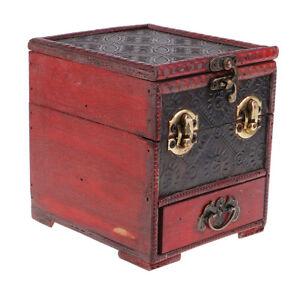 Retro-Wooden-Jewelry-Storage-Box-Treasure-Chest-Organizer-Home-Decor-14x12cm