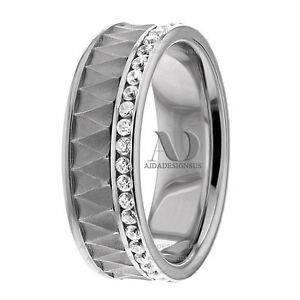 0.53Ctw Solid 10K White Gold 7mm Comfort Fit Womens Diamond Wedding Band Ring