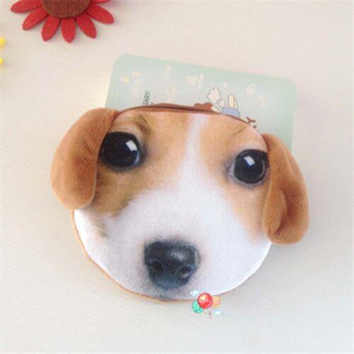 Style Animals Plush Prints Cute Ladies Cat Zipper Bag Dog 3D Coin Wallet